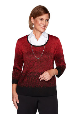 Image: Petite Ombre Two-For-One Sweater