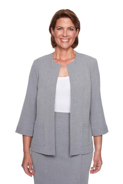Image: Petite Open Front Jewel-Neck Jacket