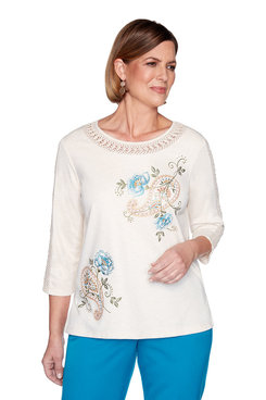 Image: Petite Paisley Floral Embroidery Top