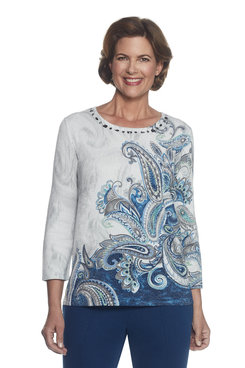 Petite Paisley Shimmer Sweater