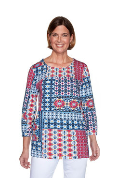 Image: Petite Patchwork Three-Quarter Sleeve Top