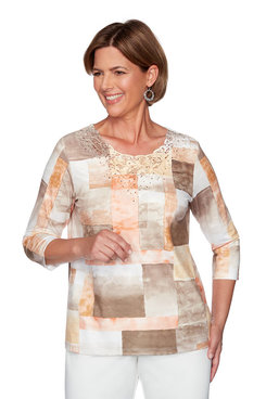Image: Petite Patchwork Watercolor Top with Lace