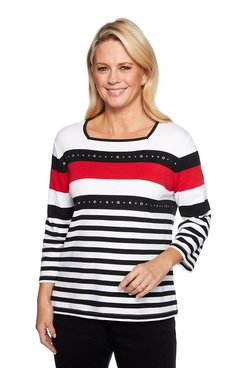 Image: Petite Placement Stripe Top