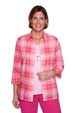 Image: Petite Plaid Two-For-One Shirt