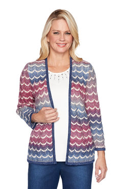 Image: Petite Pointelle Chevron Two for One Sweater