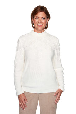 Image: Petite Pointelle Stitch Yoke Solid Sweater