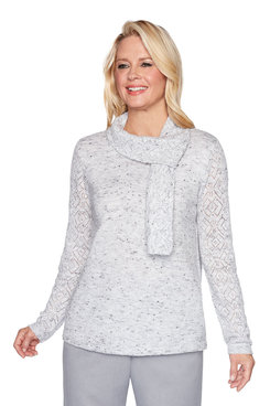Image: Petite Pointelle Sweater with Scarf
