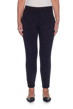 Image: Petite Proportioned Medium Suede Slim Fit Knit Pant