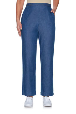 Image: Petite Proportioned Short Enzyme Wash Denim Pant