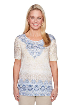 Image: Petite Python Scroll Yoke Top