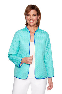 Image: Petite Reversible Geometric Quilted Jacket