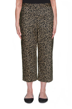 Image: Petite Sateen Animal Print Capri