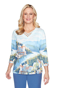 Image: Petite Scenic Watercolor Knit Top