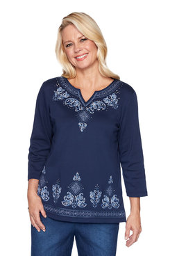 Image: Petite Scroll Border Embroidery Top