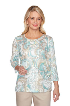 Image: Petite Scroll Center Lace Top
