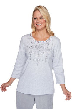 Image: Petite Scroll Embroidered Yoke Top
