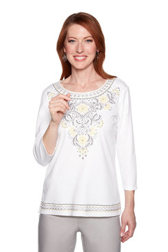 Image: Petite Scroll Embroidery Yoke Top