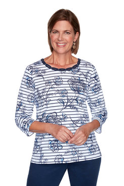 Image: Petite Scroll Floral Pinstripe Top