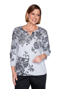 Image: Petite Scroll Lace Floral Sweater
