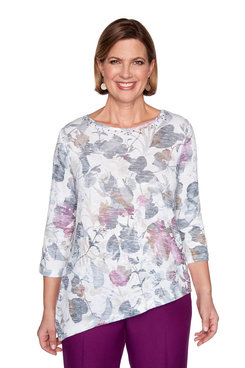 Image: Petite Shadow Floral Knit Top
