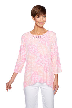 Image: Petite Sharkbite Printed Three-Quarter Sleeve Top