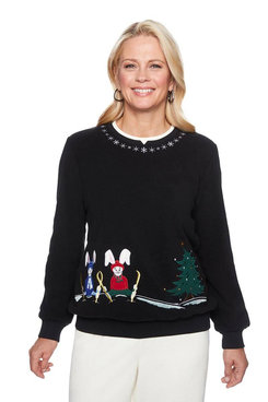 Image: Petite Ski Bunnies Embroidered Anti-Pill Pullover