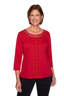 Image: Petite Solid Center Crochet Knit Top