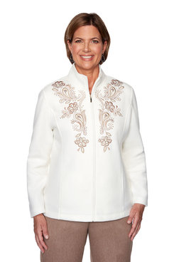 Image: Petite Solid Fleece Jacket with Embroidery