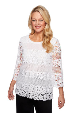 Image: Petite Solid Lace Biadere Top