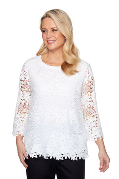 Image: Petite Solid Lace Floral Top