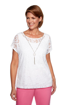 Image: Petite Solid Lace Short Sleeve Top