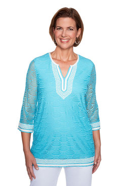 Image: Petite Solid Lace Tunic