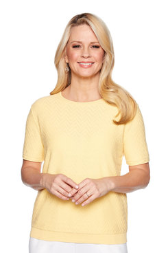 Image: Petite Solid Short Sleeve Sweater Shell