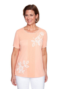 Image: Petite Soutache Floral Top With Eyelet
