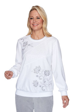 Image: Petite Spliced Asymmetrical Flower Top