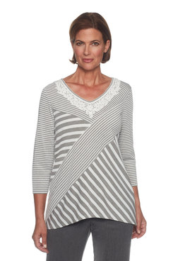 Image: Petite Spliced Stripe Top With Embroidery