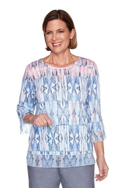 Image: Petite Stained Glass Bell Sleeve Top