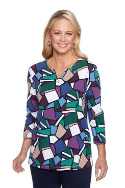Image: Petite Stained Glass Printed Shirt