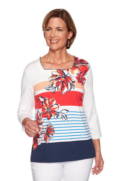 Image: Petite Stripe Floral Knit Top