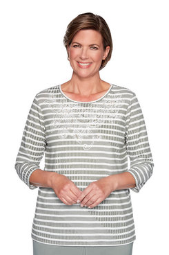 Image: Petite Stripe Scroll Yoke Top