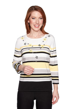 Image: Petite Stripe with Faux Necklace Top