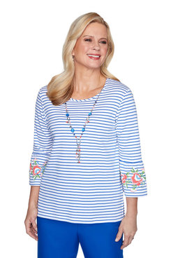 Image: Petite Striped Bell Sleeve Top