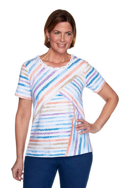 Image: Petite Striped Patch Top