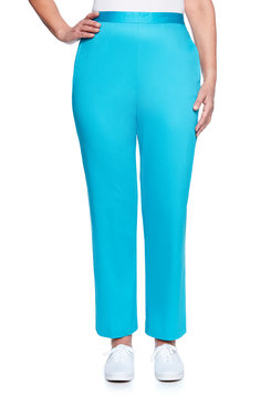Image: Petite Tailored Flat Front Proportioned Medium Pant