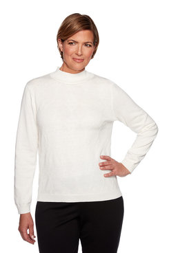 Image: Petite Texture Mock Neck Sweater