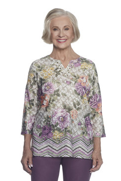 Image: Petite Textured Floral Border Top