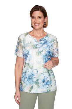 Image: Petite Textured Lace Front Floral Top