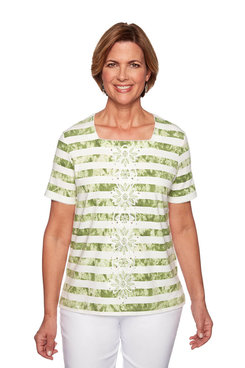 Image: Petite Tie Dye Center Embroidery Top