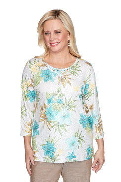 Image: Petite Tropical Animal Print Top