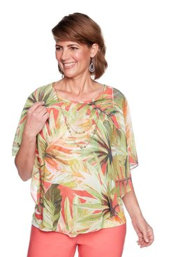 Image: Petite Tropical Leaf Flutter Top